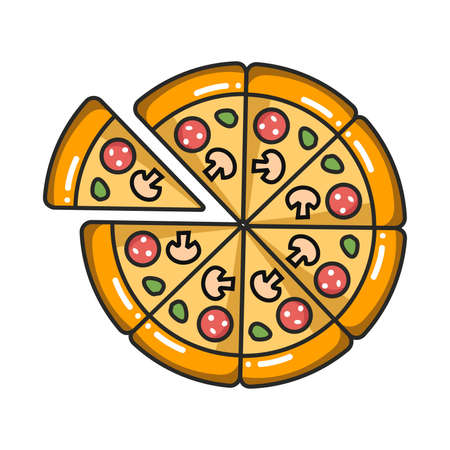 Vector colorful icon of pizza. Isolated on white background. Иллюстрация