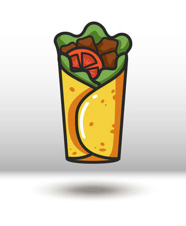 Vector colorful icon of burrito. Isolated on white background.