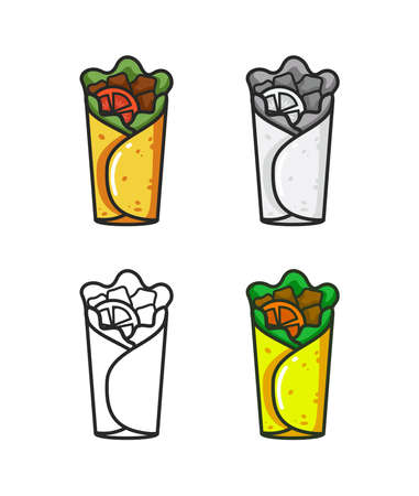 Vector colorful icon of four burrito. Isolated on white background.