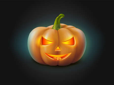 3d realistic vector Halloween pumpkin with glowing face in the dark.