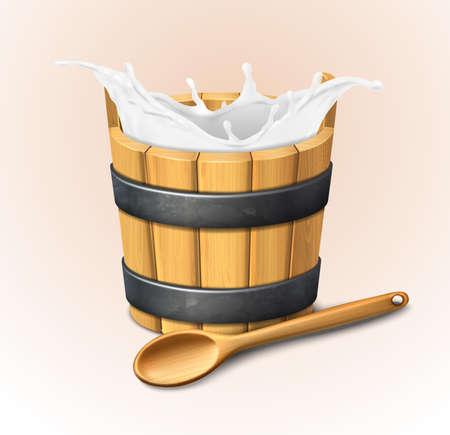 3d realistic vector icon. Wooden rustic bucket. Milk splash. Natural yogurt. Wooden spoon. Фото со стока