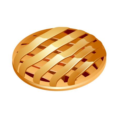 apple cinnamon: Warm Apple Pie 3d icon illustration - vector Illustration