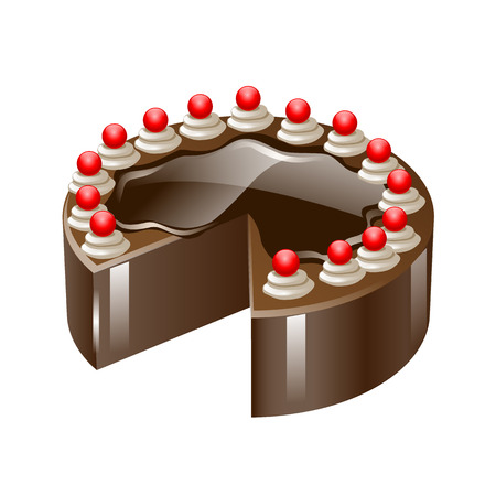 gateau: Vector chocolate cake with cherry isolated on a white background.