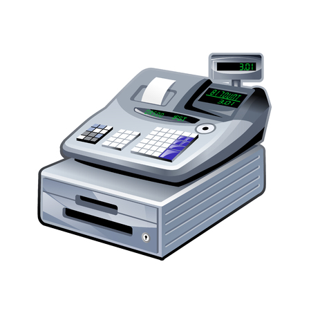 checkout line: shopping cash register 3d icon isolated, line icon