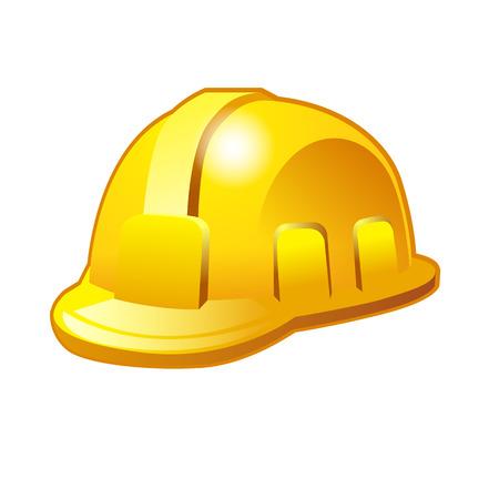 mine site: Yellow safety hard hat. Vector illustration isolated on white background Illustration