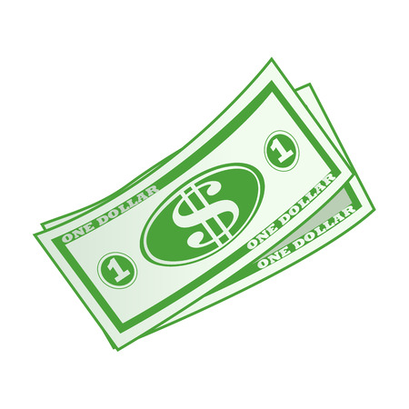 fanned: dollar currency banknote green vector illustration isolated