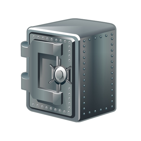 impenetrable: Security metal safe isolated on white. Vector illustration