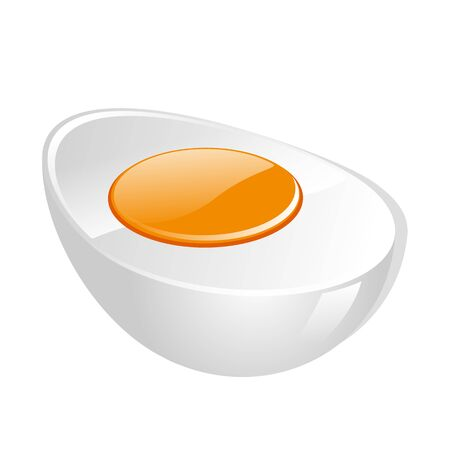boiled egg: Boiled egg with yolk isolated on the white background Illustration