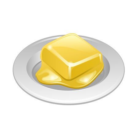 saturated: butter on white plate vector isolated on the white background