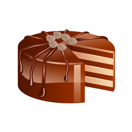 gateau: Vector chocolate cake isolated on a white background.