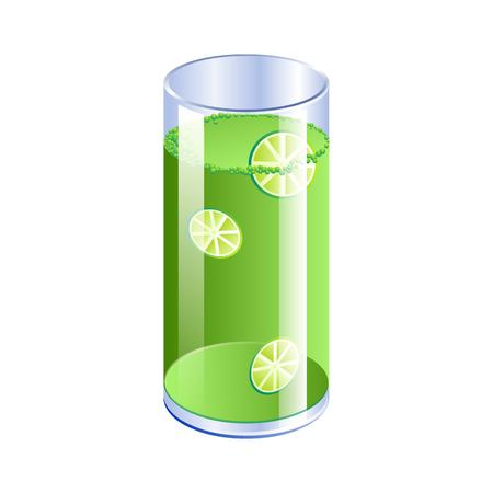 lime juice: Shiny glass of lime juice. Vector illustration Illustration