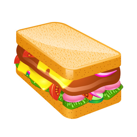 peppar: Ham and vegetable sandwich illustration vector illustration Illustration