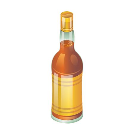 peat: Bottle of whiskey isolated on white vector illustration Illustration