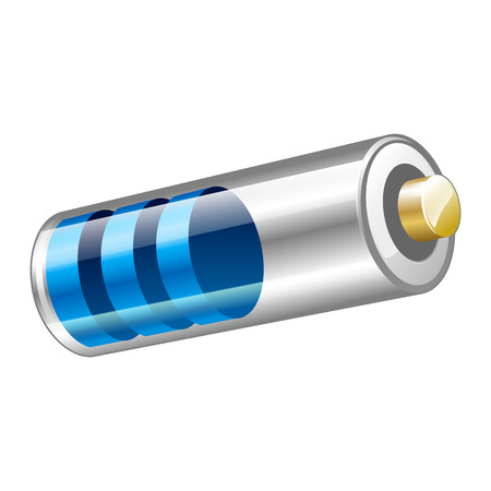 voltaic: Vector illustration of blue battery icon for web design isolated on the white background