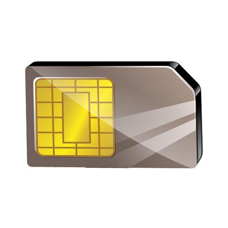 sim card: Sim card illustration isolated on white background