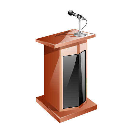 sermon: Vector Wooden Podium Tribune Rostrum Stand with Microphone Isolated on White Background