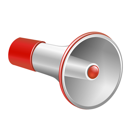 portable audio: Loudspeaker as announcement icon. Illustration on white