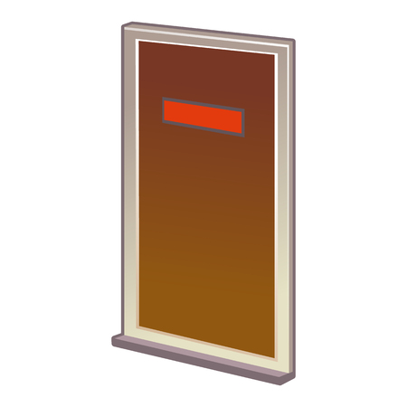 doorhandle: Vector Closed Door with Frame Isolated on Background