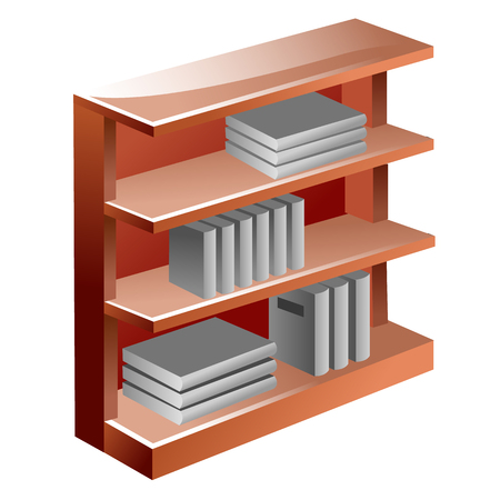 ibook: Bookshelf, vector illustration isolated on white background