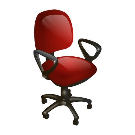 computer chair: red computer chair, leather, on a white background isolated