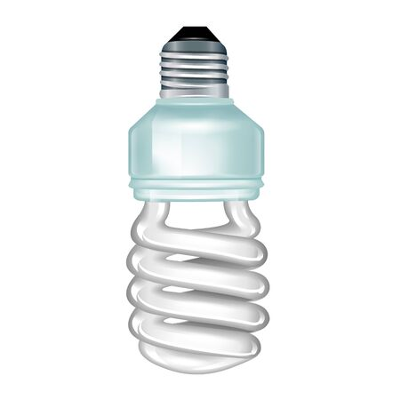 bombillo ahorrador: lámpara ahorro de energía blanca. Ilustración sobre fondo blanco.