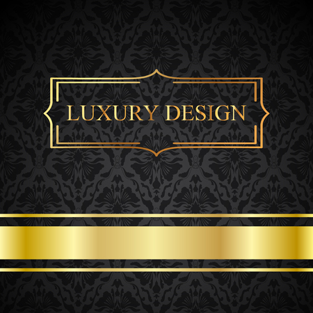 A luxury vintage vector card. Black background with beautiful ornaments and gold frame.