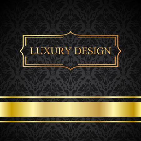 Un vector de la tarjeta de lujo de época. Fondo negro con bellos adornos y marcos de oro. Ilustración de vector