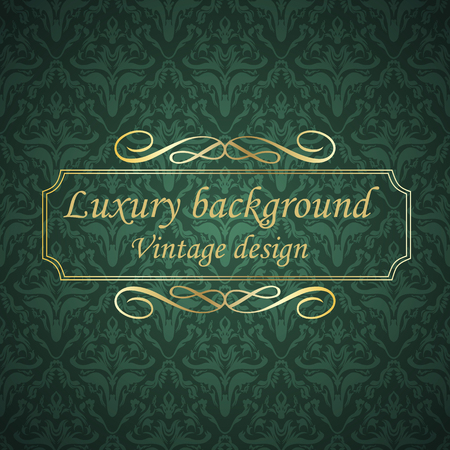 aristocratically: Luxury golden luxury green vintage card with golden frame. Template for design. Illustration