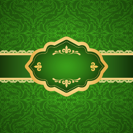 Ornamental colored luxury backround with golden frame. Template for design Illustration