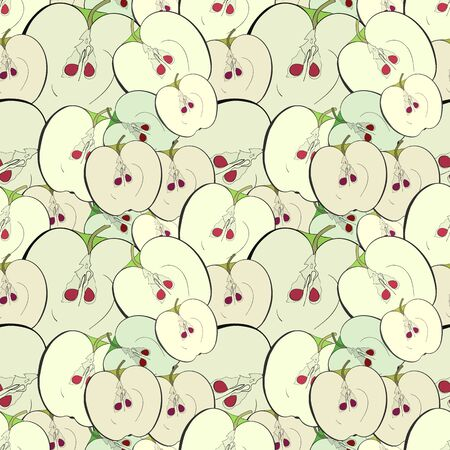 apple core: Greeen apple core and half. Seamless pattern background.