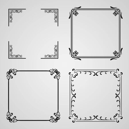 caligraphic: Caligraphic frames, vector set. Template for design Illustration