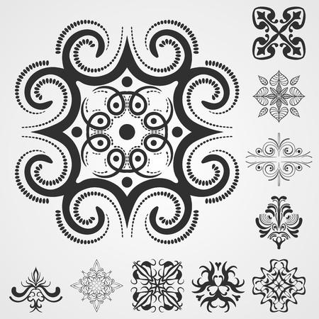 caligraphic: Vector patterns elements set. Template for design Illustration