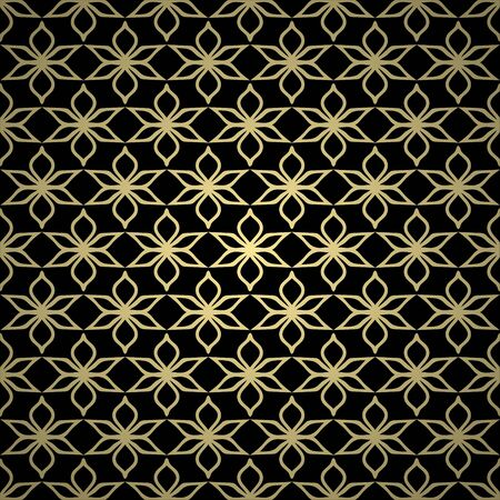 Golden background with abstract vintage ornament. Template for design