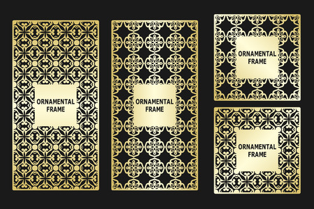 baroque border: Background frame with golden luxury ornament. Template for design.