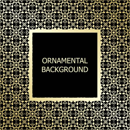 luxe: Golden background with vintage ornament. Template for design. Vector illustration.