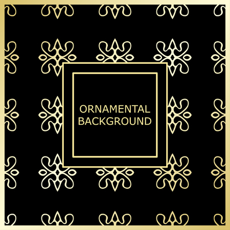 Golden ornamental background with vintage ornament. Template for design