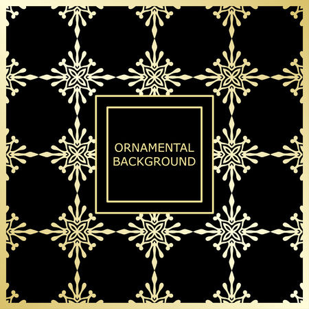 Golden ornamental pattern with vintage ornament. Template for design