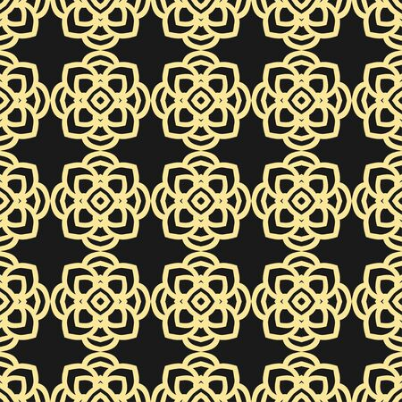 lace pattern: Seamless floral geometrical wallpaper. Black and golden, orange, yellow pattern, vector. Template for design