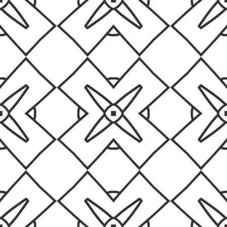 lace pattern: Seamless floral geometrical wallpaper. Black and white pattern, vector. Template for design