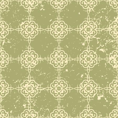 Ornamental grunge vintage textured green background. Scratched old seamless
