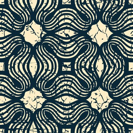 grained: Ornamental seamless pattern with grunge scratched faded effect. Template for design.