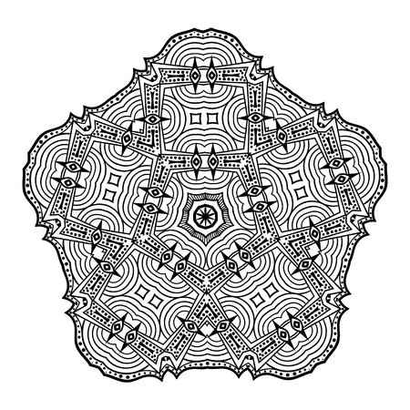 Decorative hand drawn mandala. Ethnic decorative element for design. Islam, Arabic, Indian, ottoman motifs
