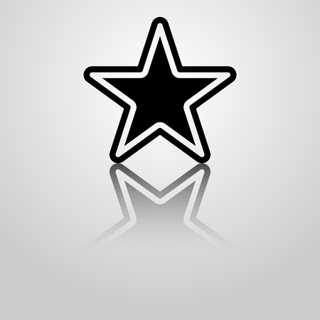 shiny buttons: Vector star icon illustration with reflection. Template for design