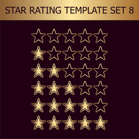 Vector star rating assessment. Illustration with golden gradient. Template for web design.