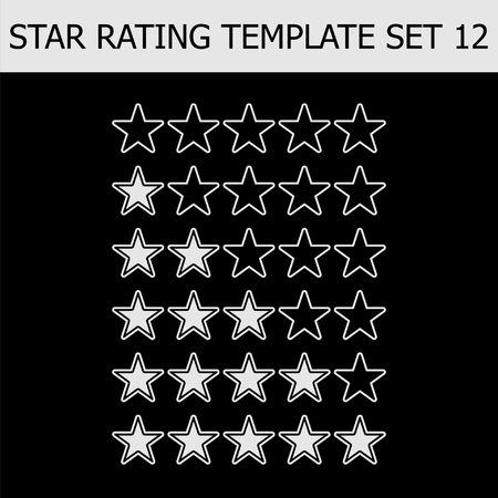 Vector star rating assessment. Black and white illustration. Template for web design.