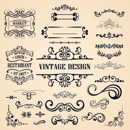 Sierlijke vintage frames en banners. Ontwerpelementen met kalligrafie-elementen, sierletters, wervelingen, ornamentele motieven en rollen. Retro vectorillustratie Vector Illustratie