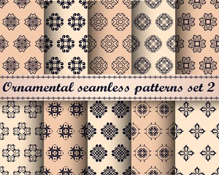 Set of ten seamless repeating ornamental vintage patterns. Template for design of wrapping paper, packaging, fabric, textile, wallpaper, tile, oilcloth and other.