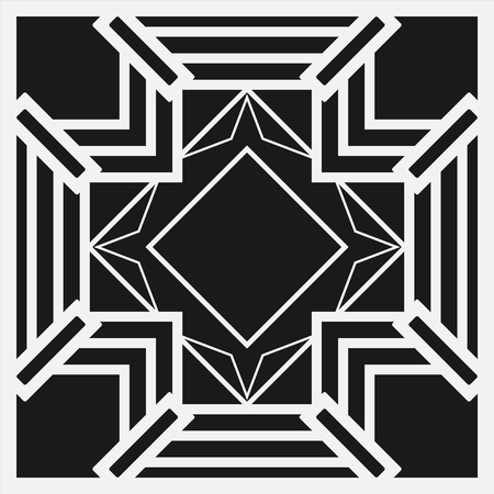 artdeco: Black and white art deco ornamental background. Template for design. Vector illustration eps10 Stock Photo