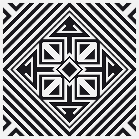 Black and white art deco ornamental background. Template for design. Vector illustration
