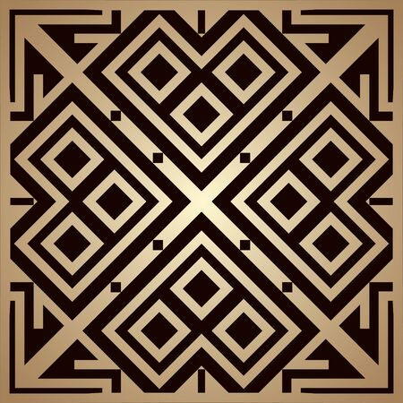 Golden art deco ornamental background. Template for design. Vector illustration eps10 Illustration
